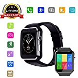 Bluetooth Smart Watch, 321OU Touch Screen Smartwatch with SIM Card Slot and Make/Answer Call Functions, Sports Fitness Tracker for Android Samsung IOS Iphone 7 6S Men Women Kids (Black1)