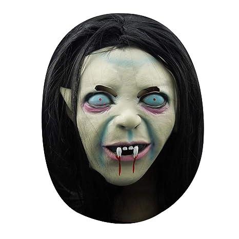 Fangfeen Bruja de Halloween máscara del Fantasma del resentimiento Sadako Cuello para la Cabeza del Zombi