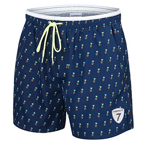LANYI Mens Swim Trunks Quick Dry Board Beach Shorts Surfing Swimming Shorts Swimwear Mesh Lining Bathing Suits with Pockets (Blue Pineapple, L) -