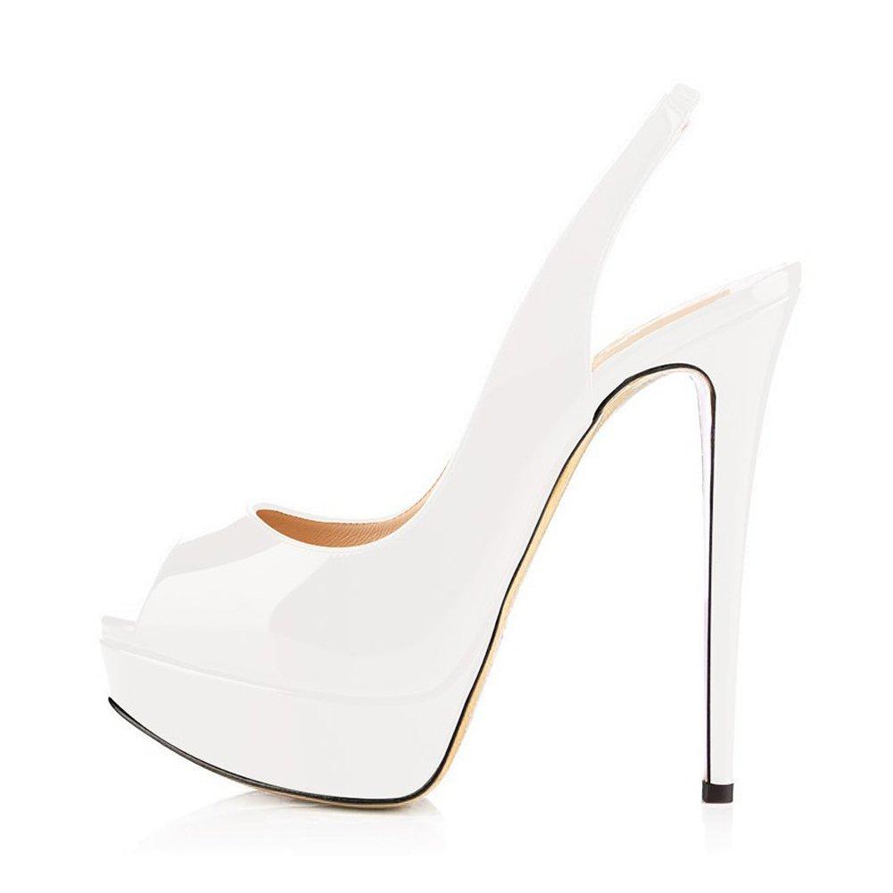 Women Peep Toe Platform Sandals Heels Slingback High Heels Sandals Party  Stilettos Dress Shoes B0774S58L1 14 7f1279af1cb2
