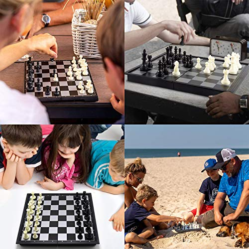 "Koopro 12"" Magnetic Travel Chess Set w/ Folding Chessboard 2 Extra Storage Bags and 2 Extra Queen Felt Pad Easy Carrying Journey Board Game"