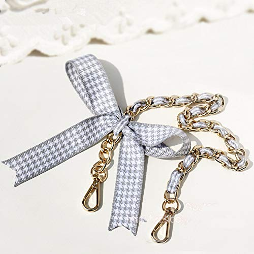 (DIY Silk Bow Inside Shape Wide 12mm Golden Chain for Women Bags Replacement Purse Chain Strap Chain Purse Bag Strap (Length 31 inch))