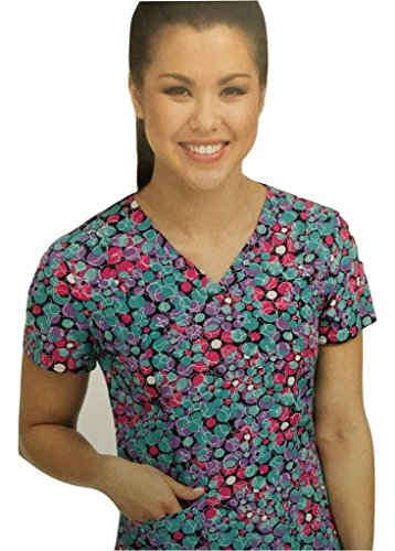 Activate By Med Couture Women's In Motion Geometric Print Scrub Top Large Print