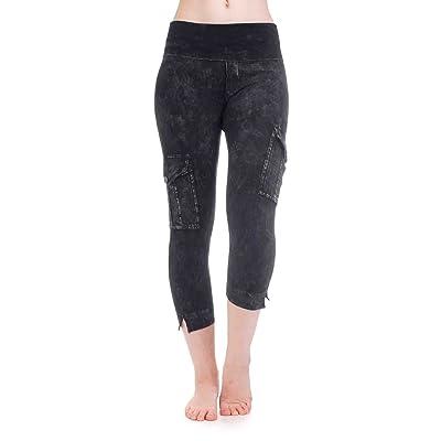 Hard Tail Rolldown Contour Cargo Crop Yoga Legging (Charcoal Mineral Wash)