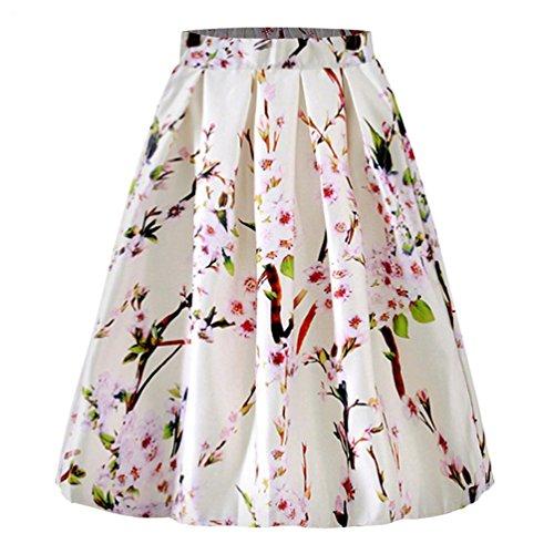 Lihaer Femmes Mode Elgante Jupe Imprime Rtro Midi Jupe Plisse Jupes Taille Haute Blanc