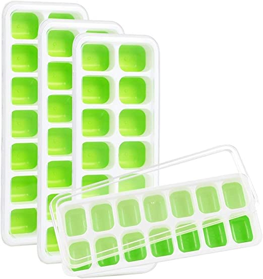 5 Colors Ice Cube Tray with Lid Beverages Large Square Ice Cube Mold Maker Silicone Ice Cube Mold for Cocktail Black Easy-Release and Flexible 6-Ice Trays with Spill-Resistant Removable Lid