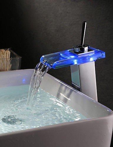 Moderne FarbwechsÖl LED Ein Loch Einhand-WasserfaÖl Waschbecken Wasserhahn