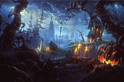 JESC Pumpkin Lantern in Dark Creepy Forest with Dark Clouds Haunted House Painting Halloween Wall Art Painting Pictures Festival Art Print Print On Canvas Art The Picture for Home Modern Décor]()