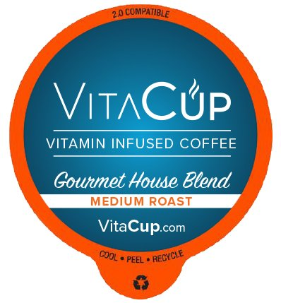 VitaCup Essential Vitamins, Coffee and Tea With Essential Vitamins Single Serve Keurig Compatible Pods (Gourmet House Blend, 16ct)