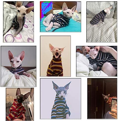 Bonaweite Hairless Cats T-Shirt for Spring Summer Autumn Devon Rex Peterbald Breathable Cat Wear Clothes Vest Shirts for Sphynx Cornish Rex