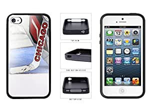 Chicago Goalie And Hockey Stick TPU RUBBER SILICONE Phone Case Back Cover Apple iPhone 4 4s