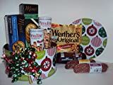 Christmas Holiday Gourmet Beef Sausage, Sopressata and Genoa Salami Gift Basket with Werthers Hard Candies, Pirouline Chocolate Wafers, and Entertainment Crackers