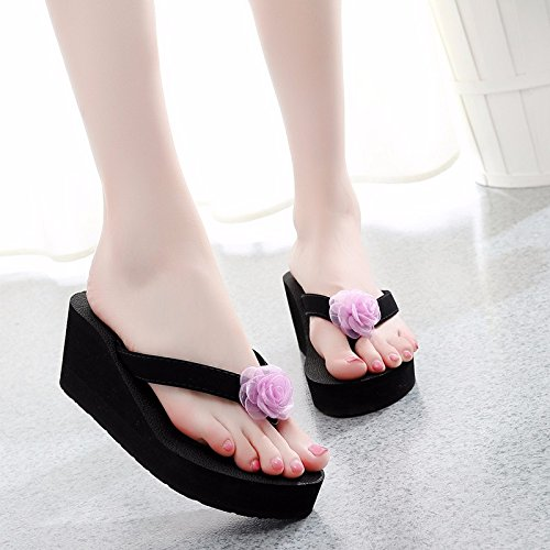flip bottom Pink Wear XIAOGEGE and sand beach fashion cool thick flops slippers flower shoes 0xxnWf4