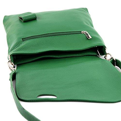 modamoda de - ital. Ledertasche Damentasche Messengertasche Umhängetasche Leder T146 Grün