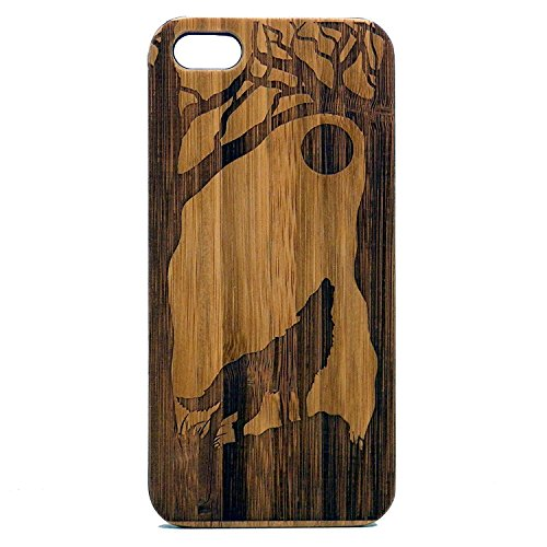 Wolf iPhone 7 Wood Case. Full Moon Howling Wolves Werewolf Canine Husky Dog Spirit Animal Guide. Eco-Friendly Bamboo Cover. (Wood Wolf compare prices)