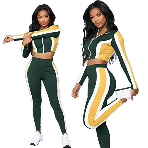 Women's 2 Pieces Jumpsuits Long Sleeve Split Striped Zipper Crop Top Long Pant Outfit Tracksuits (Small) Green