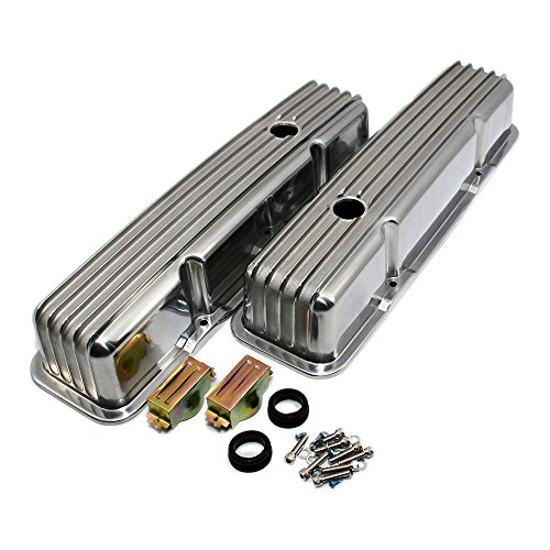Assault Racing Products A6181 Small Block Chevy Finned Polished Aluminum Tall Style Valve Cover 58-86 Retro SBC ()