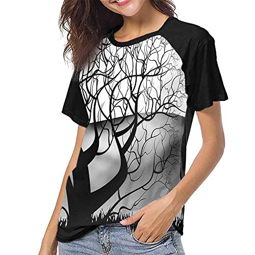 Girls Short Sleeve T-Shirts,Black and White Tree Abstract Painting (2) S-XXL Custom T-Shirt Fashion Style
