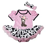 Petitebella Cowgirl Boot Hat Pink Cotton Bodysuit Cattle Tutu Baby Dress Nb-18m(3-6month)
