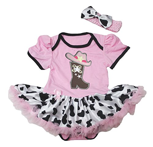 Petitebella Cowgirl Boot Hat Pink Cotton Bodysuit Cattle Tutu Baby Dress Nb-18m (6-12month) ()