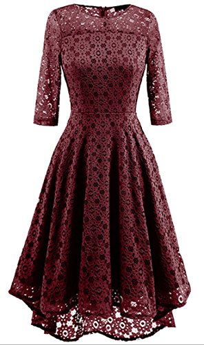 Dresses Crewneck Hollow s Retro Women Cocktail Claret Cruiize Swing Lace Pleated 4ARznq4xW1