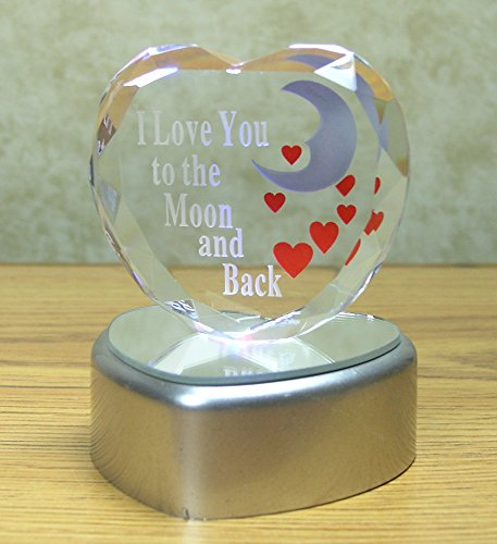 b4415cf1fee1 BANBERRY DESIGNS I Love You to The Moon and Back Crystal Glass Heart on LED  Lighted