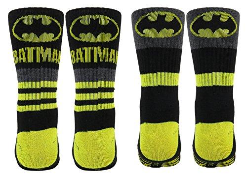 [Batman Mens Athletic Crew Socks 2 Pair Black, shoe size 6-12.] (Batman Dress Socks)