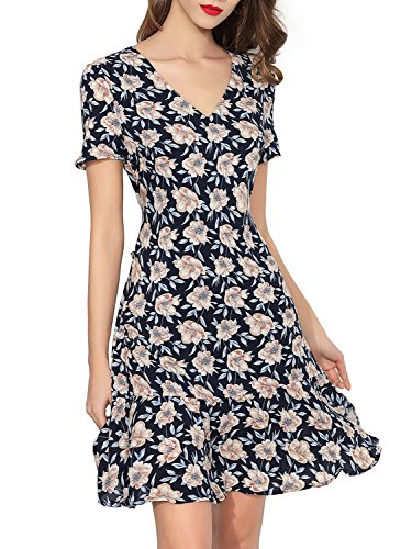 Women V Neck Short Sleeve Floral Printed Casual Retro Wrap A Line Dress by Dresms