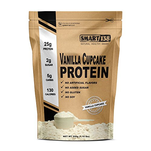 Smart Natural Protein Shake | Dessert Flavors, Gluten-Free, Soy-Free, USA, Keto (Low Carb), Natural BCAAs (500g / 1.1lbs, Vanilla Cupcake)