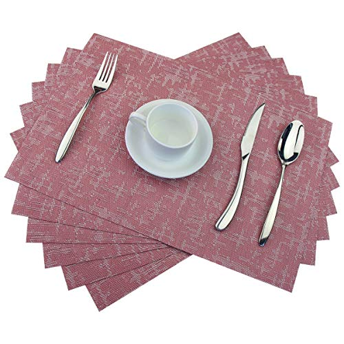 BeChen Plastic Placemats,Non Slip Washable Placemats for Dining Table Wipe Clean Table Mats Set of 6(Jacquard,Deep Pink) -