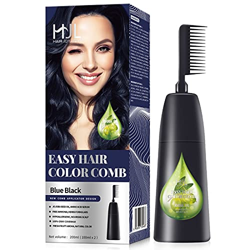 HJL Hair Color Permanent Hair Dye Cream with Comb Applicator 100% Gray Coverage Ammonia Free Hair Coloring Kit, Blue Black, Pack of 1