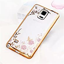 Galaxy Note 5 Case,Secret Garden Butterfly Floral Flower Bling Swarovski Rhinestone Diamond Clear Back Rubber Golden Plating Frame Soft TPU Silicone Gel Bumper Case for Samsung Galaxy Note 5(Gold-Pink Flower)