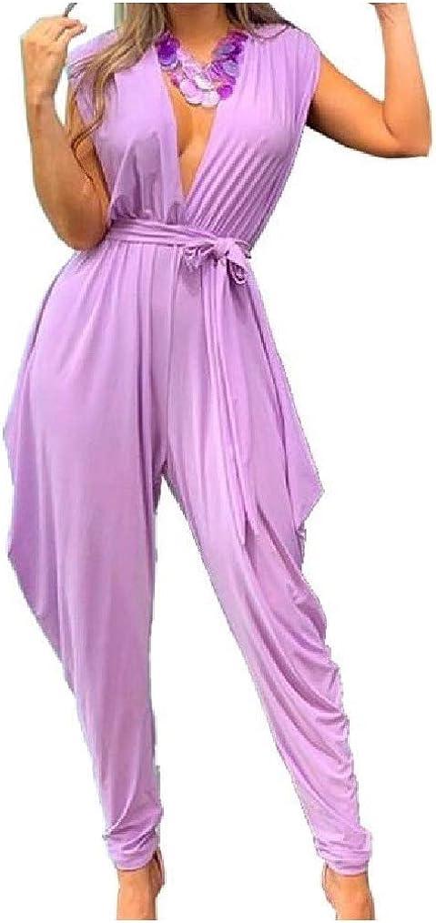 Vska Women Harem Pants Plunge V Neck Sleeveless Belt Jumpsuit Trousers