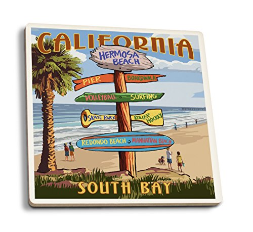Lantern Press Hermosa Beach, California - Destinations Sign (Set of 4 Ceramic Coasters - Cork-Backed, Absorbent) ()