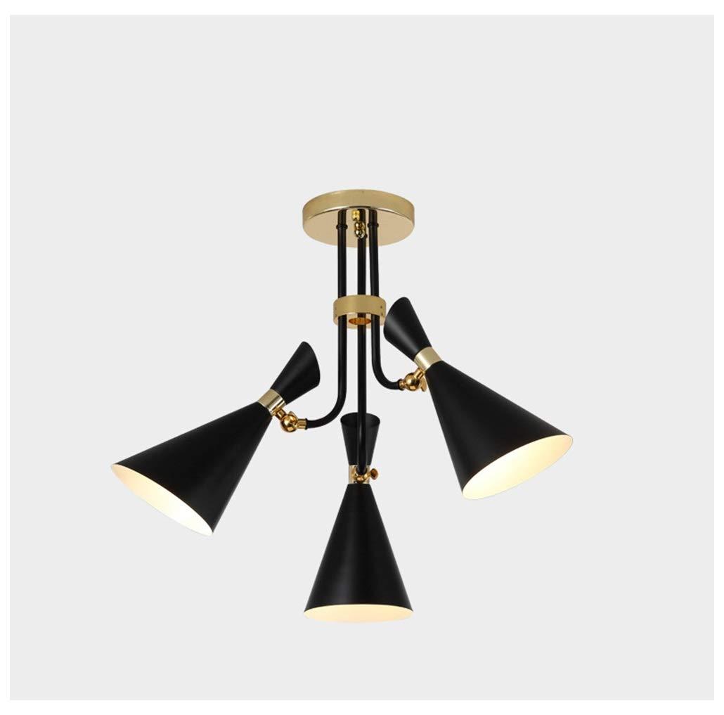 ペンダントライト 3ライトペンダントライトモダンなミニマリストの寝室のシャンデリアクリエイティブレストラン天井照明自由に調整可能な角度 - 黒 B07TDX147F