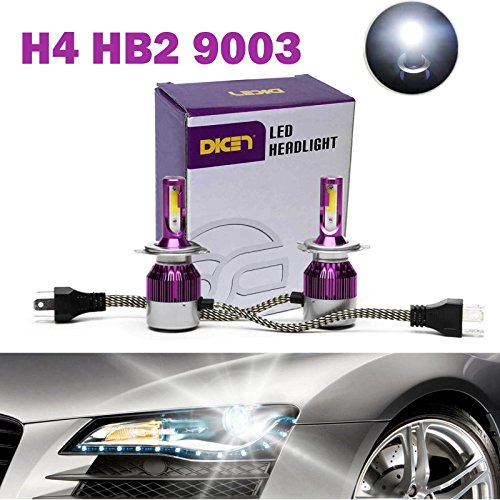 H4 9003 HB2 LED Headlight Bulbs 12000LM 120W Hi/Lo Dual Beam Conversion Kit 6000K Cool White Plug & Play COB Chips Super Bright - 2 Yr Warranty (Pair)