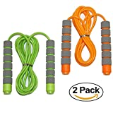 Adjustable Soft Skipping Rope with Skin-friendly Foam Handles for Kids, Children, Students and Adults - Orange & Green