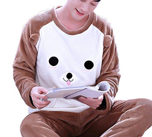 (Respeedime Cotton Weave Male Flannel Pajama Sets)