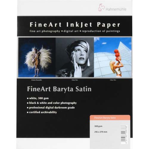"Hahnemuhle 300gsm FineArt Baryta Satin Photo Paper, 8.5x11"", 0.37mm Thickness, 25 Sheets"
