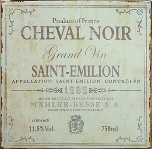 Wine Poster Tin Sign - Cheval Noir, Grand Vin, Saint-Emilion (12 x 12 inches) (Saint Emilion Grand)