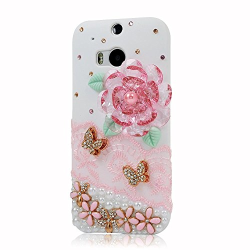 KAKA(TM HTC One M8 case,Bling Glitter Rhinestone Fashion Style with Big Bead Flowers Golden Butterfly Pearls Lace