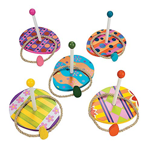 Fun Express Easter Egg Ring Toss Game (5 Wood Bases and 5 Rope Rings) Party Games