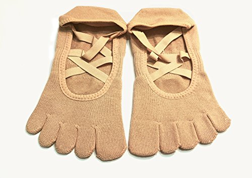 ToeSox Grip Full Toe Elle Socks, Dance Socks and can be use for Barre, Yoga, Pilates, Fitness Non Slip Skid Socks - 1 PAIR Nude