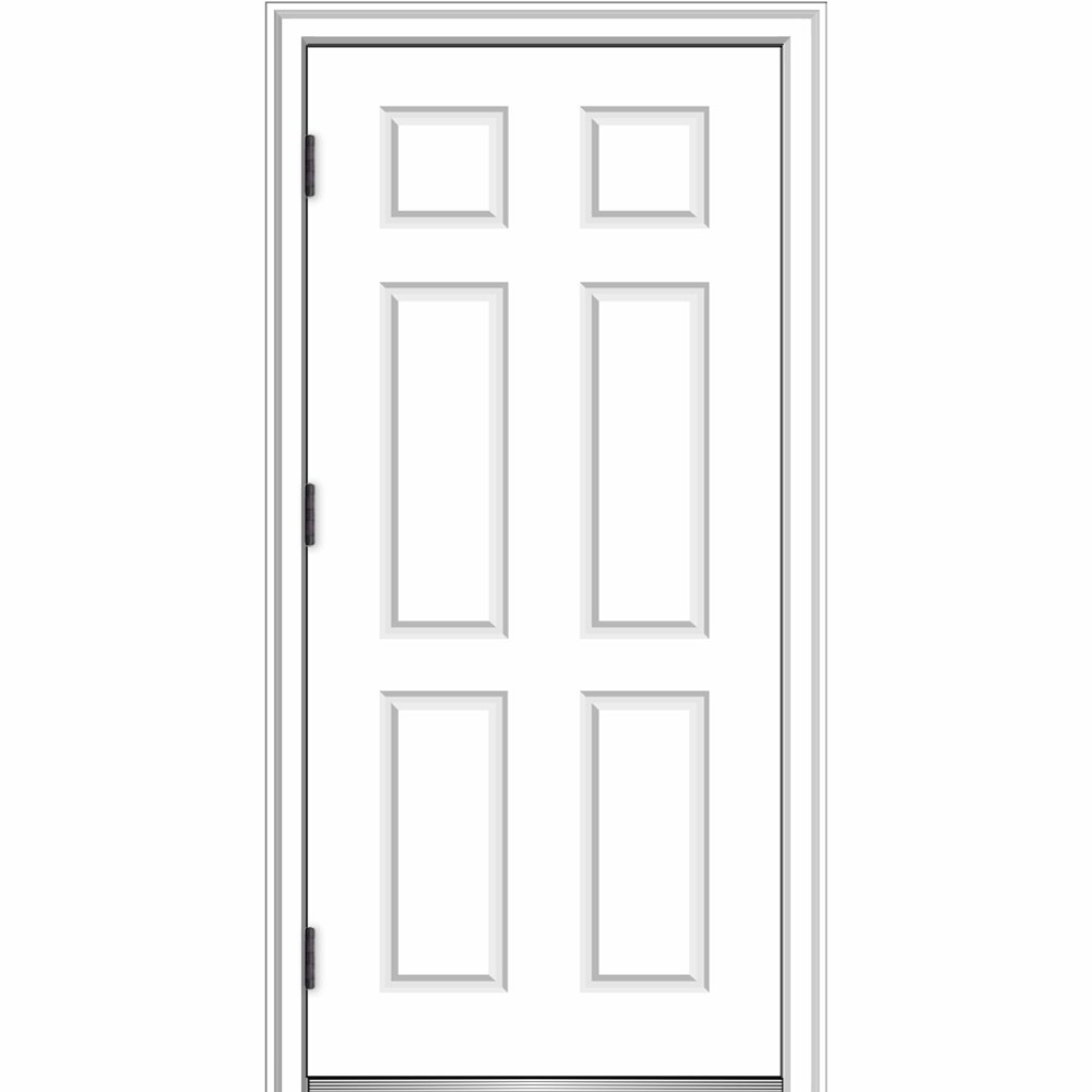 National Door Company ZZ364680R Fiberglass Smooth, Primed, Right Hand Outswing, Prehung Front Door, 6-Panel, 36'' x 80'' by National Door Company