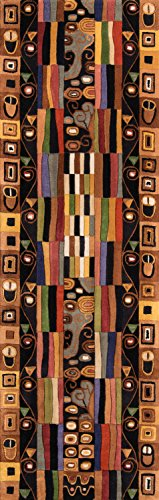 Momeni Rugs NEWWANW-33BLK2680 New Wave Collection, 100% Wool Hand Carved & Tufted Contemporary Area Rug, 2'6