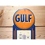 LARGE 15 GULF NO-NOX Gasoline and Oil Vintage Style Thermometer Sign Gas Service Station MAN CAVE