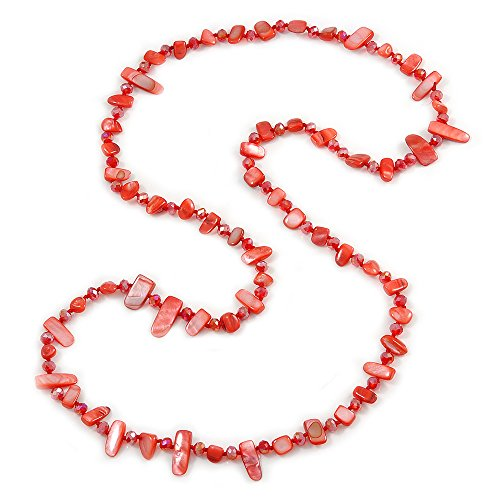 Avalaya Stunning Long Red Shell Nuggets and Glass Crystal Bead Necklace - 120cm L (Nugget Pearl Long Necklace)