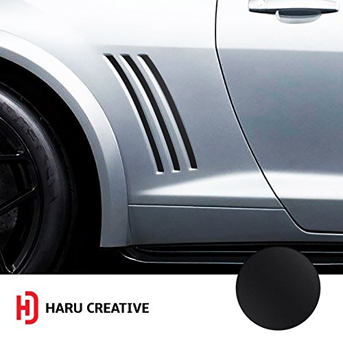 Haru Creative - Side Vent Stipe Insert Overlay Inlay Vinyl Decal Compatible with and Fits Chevy Camaro 2010 2011 2012 2013 2014 2015 - Matte Black