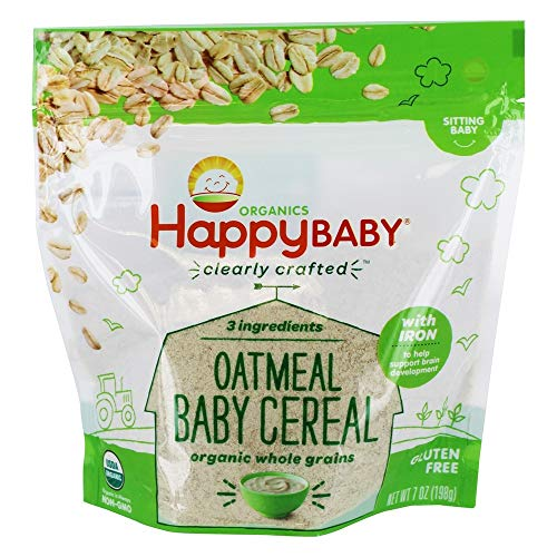 Happy Baby Organic Clearly Crafted Cereal Whole Grain Oatmeal, 7 Ounce Bag Organic Baby Cereal in a Resealable Pouch with Iron to Support Babys Brain Development a Great First Food