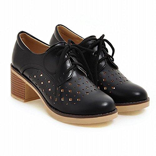 Show Shine Womens Fashion Platform Tacco Grosso Allacciatura Scarpe Oxford Nere